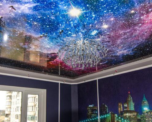 3д потолок космос натяжной