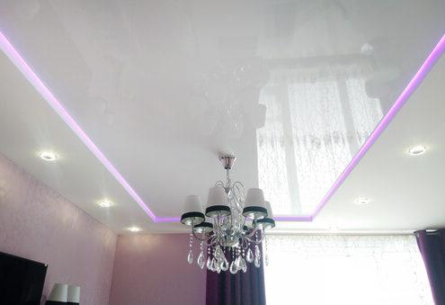 Натяжные потолки под ключ с неоновой подсветкой