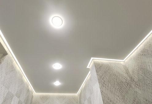 Натяжные потолки под ключ световые линии