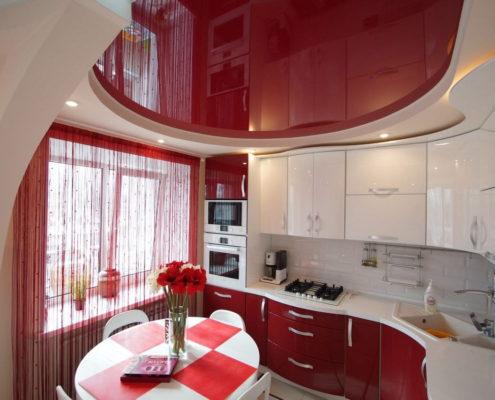 круглый натяжной потолок на кухню
